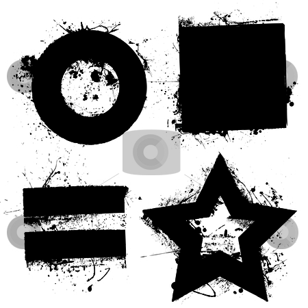 Grunge shapes stock vector clipart, Black grunge ink splat shapes with star and circle by Michael Travers