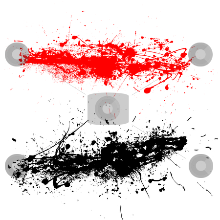 Grunge strand stock vector clipart, Red and black ink splats with grunge effect by Michael Travers