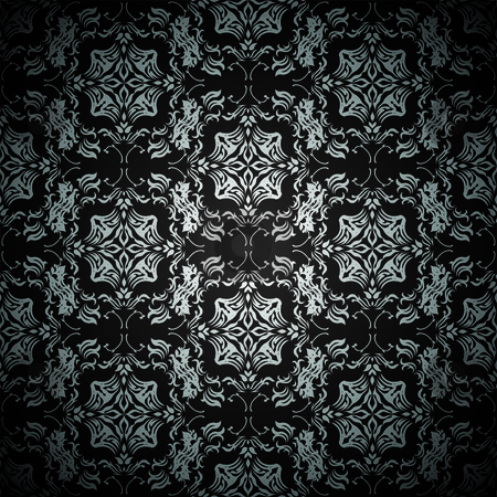 Black floral repeat stock vector clipart, Black and silver seamless repeating design with flroal theme by Michael Travers