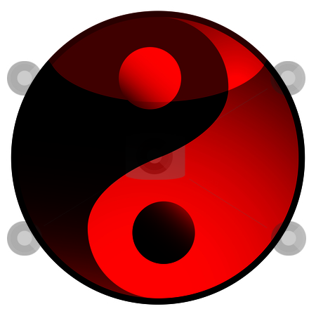 Ying yang shadow red stock vector clipart, Red and black ying yang logo with light reflection by Michael Travers