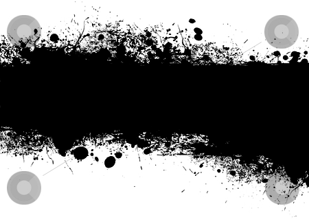 Grunge black banner stock vector clipart, Ink black banner with ink splat design with copy space by Michael Travers