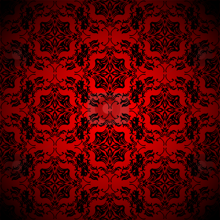 Blood red wallpaper stock vector clipart, Bright blood red wallpaper with seamless repeating design by Michael Travers
