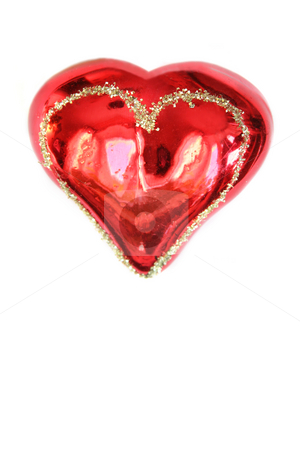 Red glass heart stock photo, Red glass heart. Isolated on white by Olga Lipatova