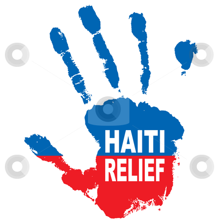 Haiti hand stock vector clipart, Grunge ink hand with the colours of haiti flag and relief message by Michael Travers