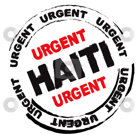 Haiti danger stock vector clipart, Urgent ink grunge stamp for Haiti with weather effect by Michael Travers