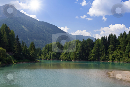 Soraga Lake, Italy stock photo, Summer view of  Soraga lake in Val di fassa, Trentino, Italy by ANTONIO SCARPI