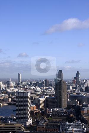 London Skyline stock photo, An aerial view of London showing St Paul's Cathedral, the Natwest Tower and the Gherkin by Darren Pattterson