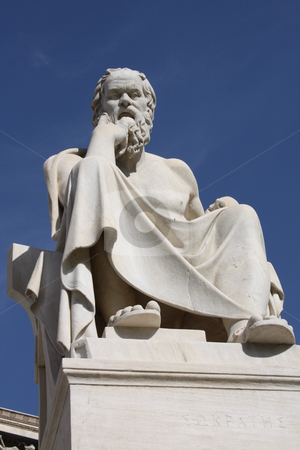 Statue of Socrates in Athens stock photo, Neoclassical statue of ancient Greek philosopher, Socrates, outside Academy of Athens in Greece by Brigida Soriano