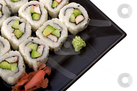 Sushi platter stock photo, Sushi closeup by Barna Tanko
