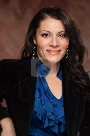 Attractive Hispanic Woman Studio Portrait stock photo, Attractive Hispanic Woman Poses for an Inside Studio Portrait. by Andy Dean