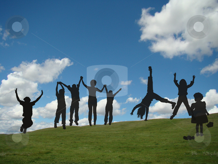 Children at Play stock photo, Silhouette of playing children against blue sky by CHERYL LAFOND