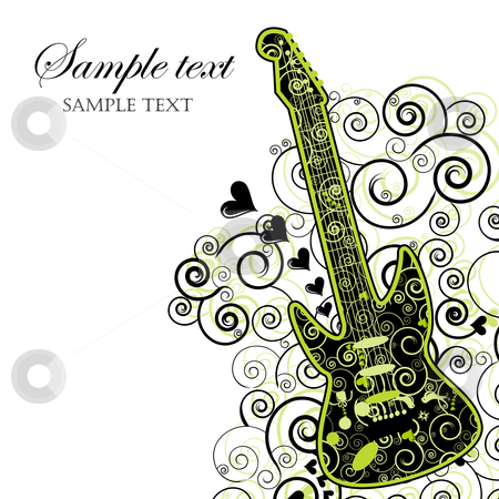Event Invitation with Guitar stock vector clipart, Illustration of a guitar wirh hearts and swirls. Can be used as an event poster. by Linnea Eriksson