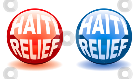 Haiti relief balls stock vector clipart, Red and blue marble icons for the haiti relief effort by Michael Travers