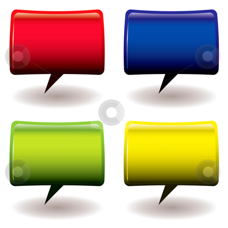 Speech bubble collection stock vector clipart, Four brightly colored speech bubbles with room to add your own text by Michael Travers