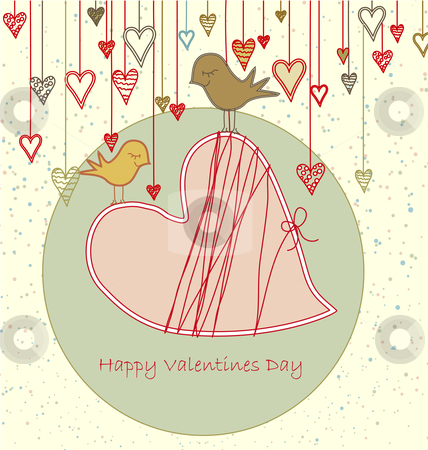 Valentine Greeting with Cute Birds stock vector clipart, This illustration can be used as a greeting card or background. You can also change the text to use it as a wedding invitation for instance. by Linnea Eriksson
