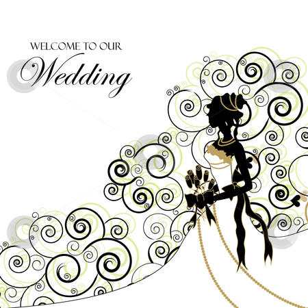 Design   Wedding Dress Online on Wedding Graphic  Use As Invitation Or Photo Album Cover Stock Vector