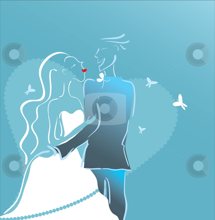 Wedding Design stock vector clipart, Illustration of a couple on their wedding day. by Linnea Eriksson