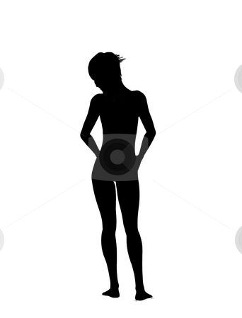 Nude Women Silhouette stock photo, Silhouette of the back of a nude women. by Chris Harvey