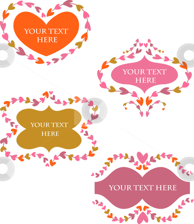 Decorative vector retro  frames with hearts stock vector clipart, Cute decorative vintage frames for Valentine's day greeting card by Marina Zlochin
