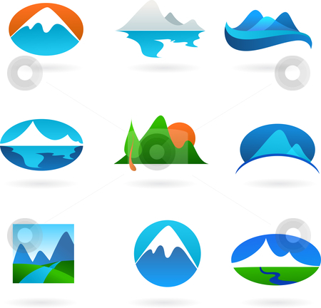 Collection of mountain related icons stock vector clipart, A set of elegant modern icons - mountain theme by Marina Zlochin