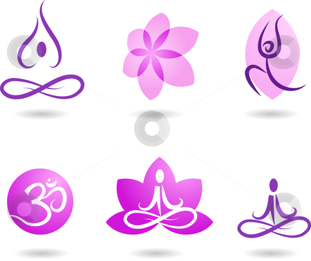 Collection of yoga icons stock vector clipart, A set of yoga and meditation symbols and icons by Marina Zlochin