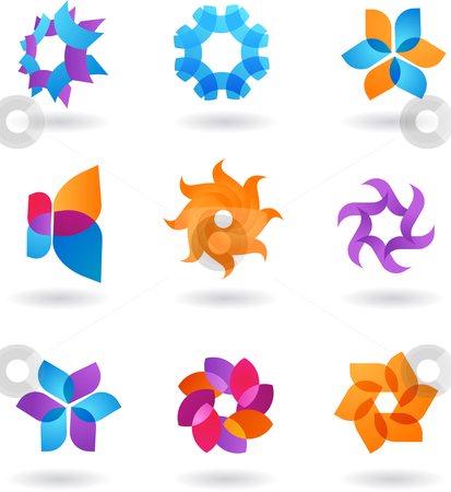 Collection of abstract star icons  stock vector clipart, A set of modern abstract icons - star motive by Marina Zlochin