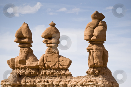 Strange Creatures stock photo, Three hoodoos, Goblin Valley State Park, central Utah, USA by mdphot