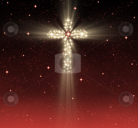 Christian cross in stars stock photo, Great glowing christian cross in starry night sky by Phil Morley
