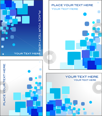 Blue mosaic vector backgrounds stock vector clipart, Collection of blue and white abstract geometric patterns by Marina Zlochin