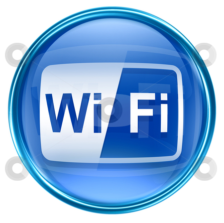 WI-FI icon blue, isolated on white background stock photo, WI-FI icon blue, isolated on white background by Andrey Zyk