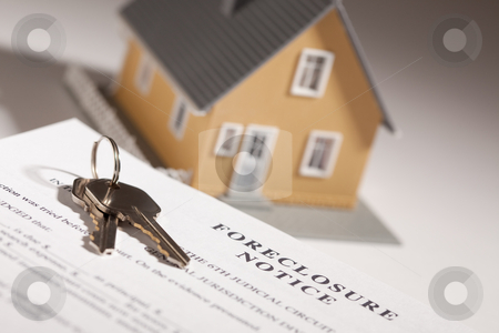 Foreclosure Notice, House Keys and Model Home on Gradated Backgr stock photo, Foreclosure Notice, House Keys and Model Home on Gradated Background with Selective Focus. by Andy Dean