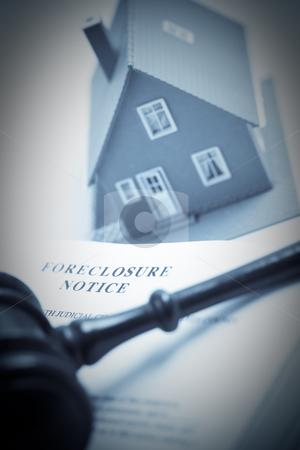 Foreclosure Notice, Gavel and Home Duotone stock photo, Foreclosure Notice, Gavel and Model Home Duotone with Selective Focus. by Andy Dean