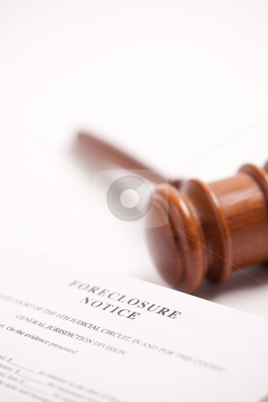 Foreclosure Notice and Gavel stock photo, Foreclosure Notice and Gavel on Gradated Background with Selective Focus. by Andy Dean