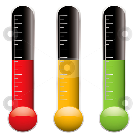 Thermometer variation stock vector clipart, Set of three thermometers with scale and different colored indicator levels by Michael Travers