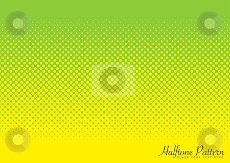 Green and yellow halftone pattern stock vector clipart, Abstract halftone green and yellow background image with circular pattern by Michael Travers
