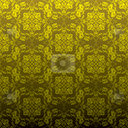 Golden floral repeat stock vector clipart, Seamless golden wallpaper background with floral inspired design by Michael Travers