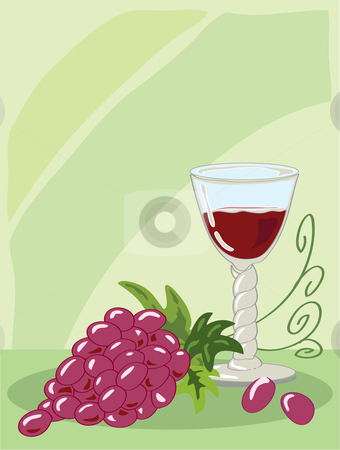 Wine stock vector clipart, Hand drawn illustration of a seventeenth century barley twist glass of red wine with a bunch of grapes against a light green background by Mike Smith