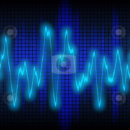 Sound or audio wave stock photo, Large image of blue electricity sound or audio wave by Phil Morley