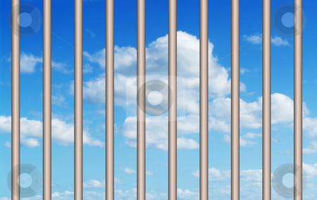 Blue sky through the bars stock photo, Great image of a perfect blue sky through the bars or grill by Phil Morley
