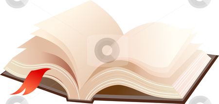 Open book stock vector clipart, A books with brown cover and red ribbon by Marina Zlochin