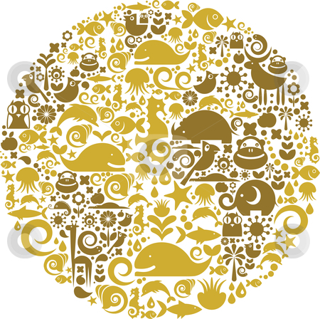 Globe outline made from birds, animals and flowers icons stock vector clipart, Collection of environmental signs and symbols on a background of Earth outline by Marina Zlochin