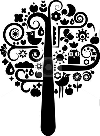 Black and white tree with