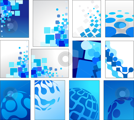 Geometric blue vector backgrounds stock vector clipart, Collection of mosaic blue and white abstract patterns by Marina Zlochin