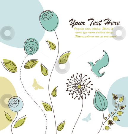 Nature Background with Flowers and Space for Your Text stock vector clipart, Beautiful floral greeting card. In the vector file all objects are grouped separetly. Replace the text with your own message. by Linnea Eriksson
