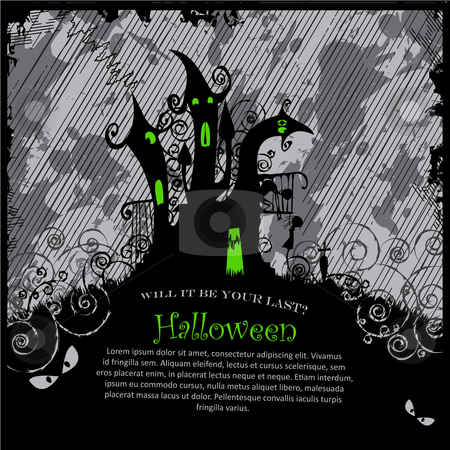 Halloween Party Invitation stock vector clipart, Illustration of a scary halloween castle. Copy space on the black. by Linnea Eriksson