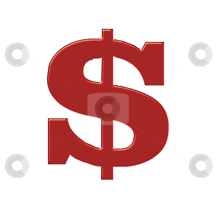 Red Big Bucks stock photo, 3d design in red showing big dollar sign by CHERYL LAFOND