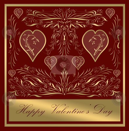 Valentines card stock photo, Beautiful victorian style valentines card in ornate gold by Phil Morley