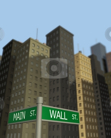 Wall Street Main Street stock photo, Signs pointing to Wall St. and Main St. with buildings in the background. by Nelson Marques