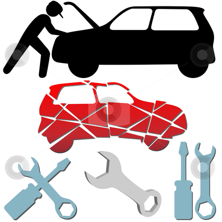 Auto Repair Maintenance Car Mechanic symbol set stock vector clipart, Auto Repair Maintenance Car Mechanic symbol icon set. by Michael Brown
