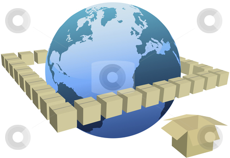 Earth in orbit of shipping box cartons stock vector clipart, Earth globe inside an orbit of shipping box cartons. by Michael Brown